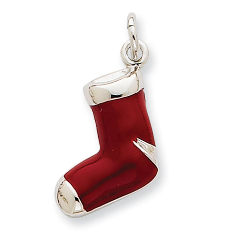Sterling Silver Rhod Enameled Red Stocking Charm