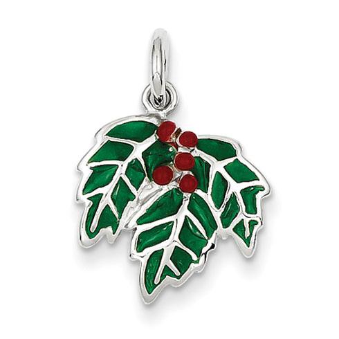 Sterling Silver Rhod Enameled Mistletoe Charm