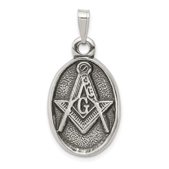 Sterling Silver 1in Antiqued Masonic Pendant