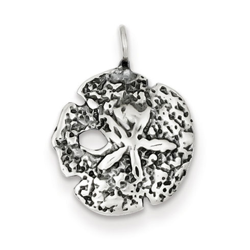 Sterling Silver 9/16in Antiqued Sand Dollar Charm