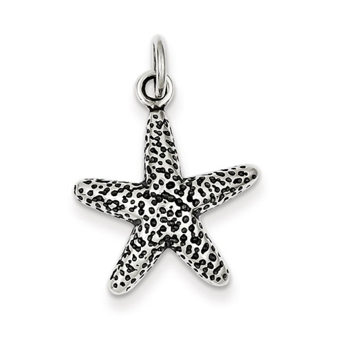 Sterling Silver 3/4in Antiqued Speckled Starfish Charm