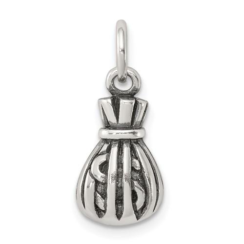 Sterling Silver Antiqued Money Bag Charm