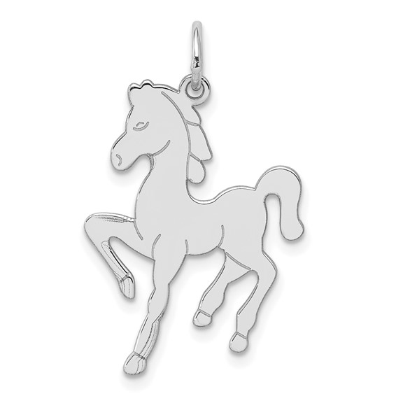 Sterling Silver Flat Horse Pendant