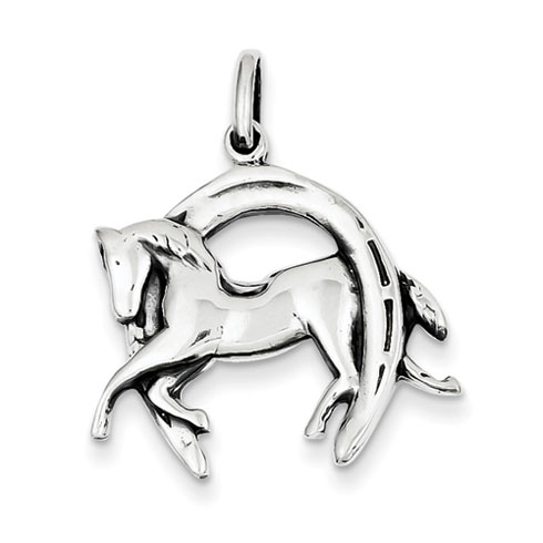 Sterling Silver 3/4in Antiqued Horse in Horseshoe Charm
