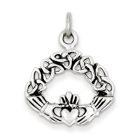 3/4in Antiqued Claddagh Pendant - Sterling Silver