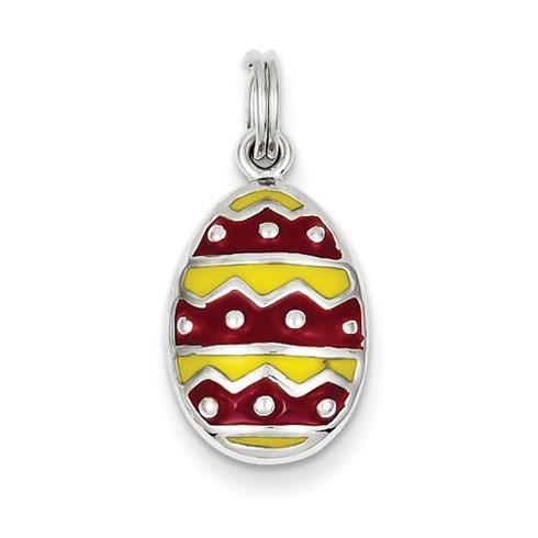 Sterling Silver Enameled Easter Egg Charm