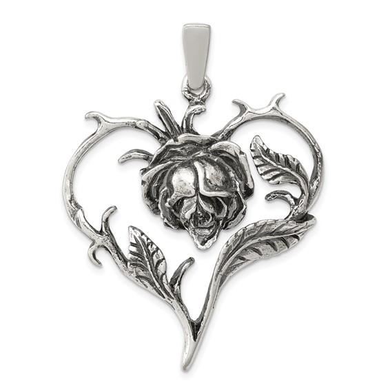 Sterling Silver Antiqued Rose Heart Pendant