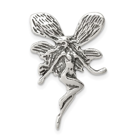 Sterling Silver 1 1/8in Antiqued Fairy Pendant