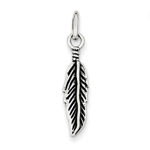 Antiqued Feather Charm 7/8in - Sterling Silver