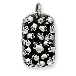 Sterling Silver 1 3/8in Skulls Dog Tag Pendant
