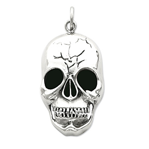 Sterling Silver 2in Skull Head Pendant