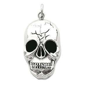 Sterling Silver 2in Skull Head Pendant