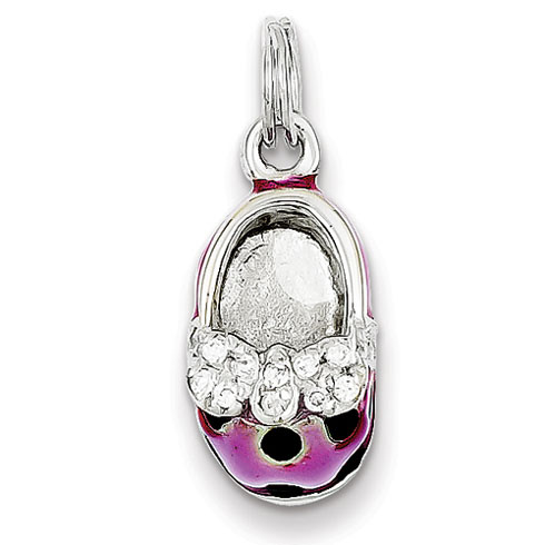 Sterling Silver Enameled Shoe Charm