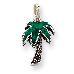 Sterling Silver Green Enamel Marcasite Palm Tree Charm