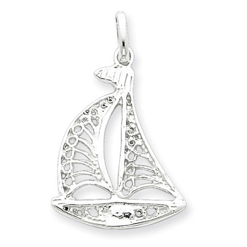 Sterling Silver Filigree Sailboat Charm