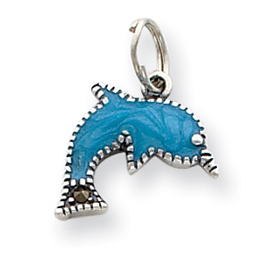 Sterling Silver Blue Enameled Dolphin Charm