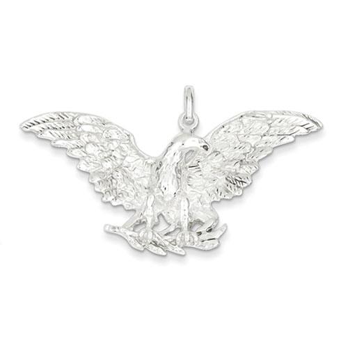 Sterling Silver Jumbo 1 1/4in Eagle Spread Wings Pendant