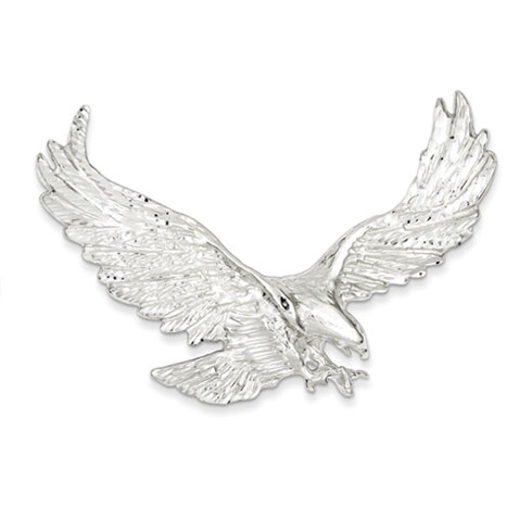 Sterling Silver 1 7/8in Eagle Pendant with Outstretched Wings