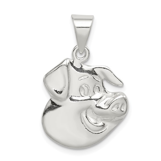Sterling Silver 3/4in Pig Head Charm