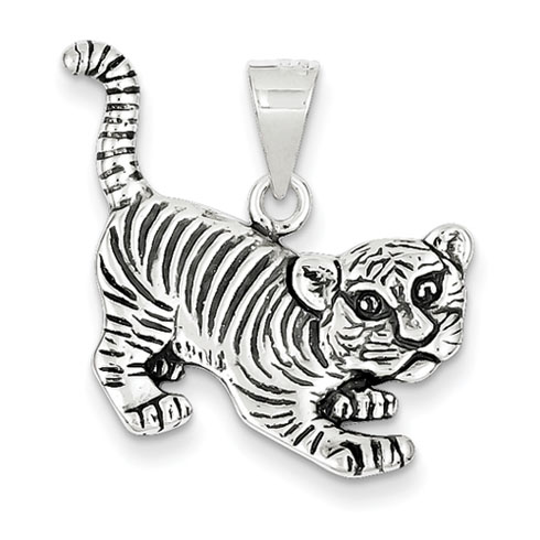 Sterling Silver Antiqued Tiger Charm