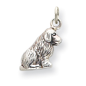 Sterling Silver 1/2in Sitting Dog Charm