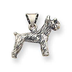 Sterling Silver 5/8in Antiqued Dog Charm