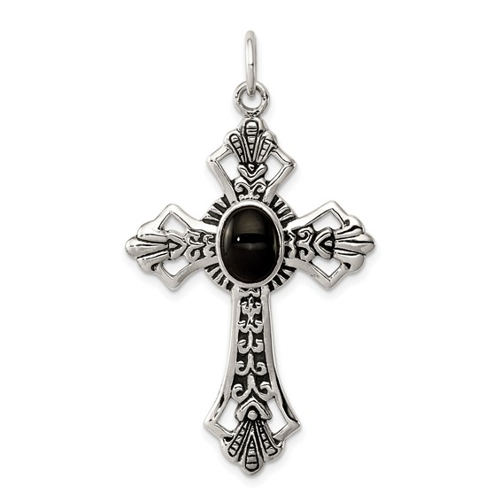 Sterling Silver 1 1/2in Onyx Cross Pendant