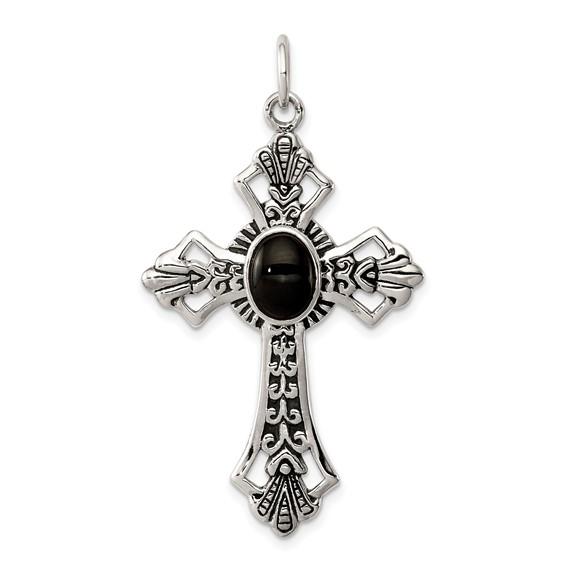 Sterling Silver 1 1/2in Onyx Cross Pendant