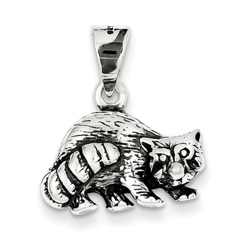 Sterling Silver Antiqued Racoon Charm