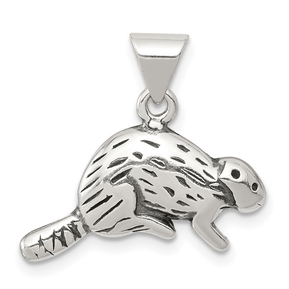 Sterling Silver Antiqued Beaver Charm