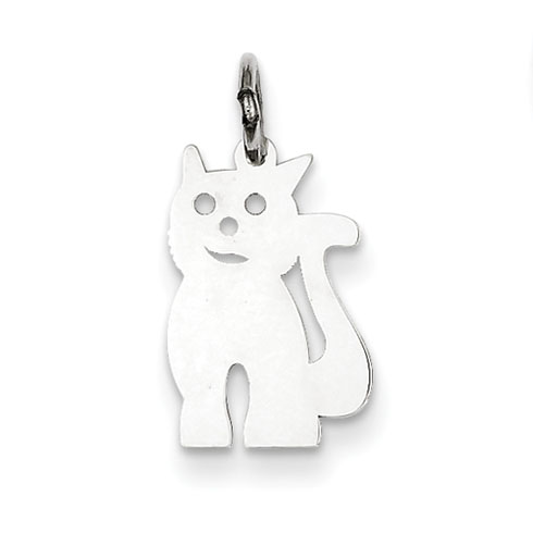 Sterling Silver 1/2in Stamped Cat Charm