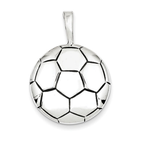 Antiqued Soccer Ball Pendant - Sterling Silver