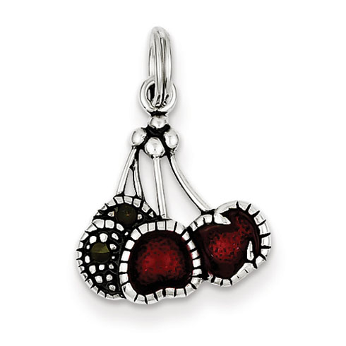 Sterling Silver Enameled Red Cherries Charm