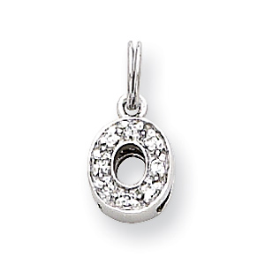 Sterling Silver CZ Initial O Charm