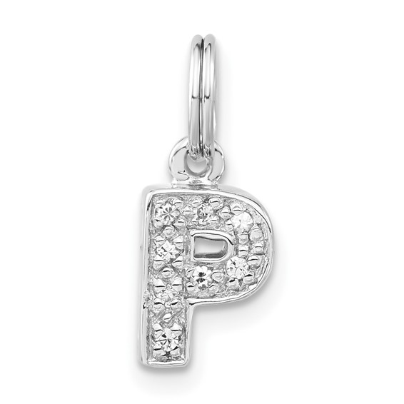 Sterling Silver CZ Initial P Charm