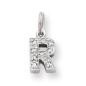 Sterling Silver CZ Initial R Charm