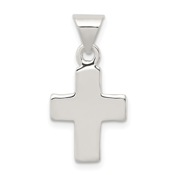 Sterling Silver Polished Latin Cross Pendant 7/8in