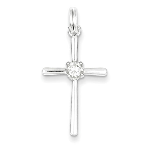 Sterling Silver 1 1/8in Cross with Cubic Zirconia