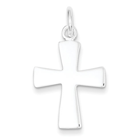 Sterling Silver 1in Flat Tapered Cross Pendant