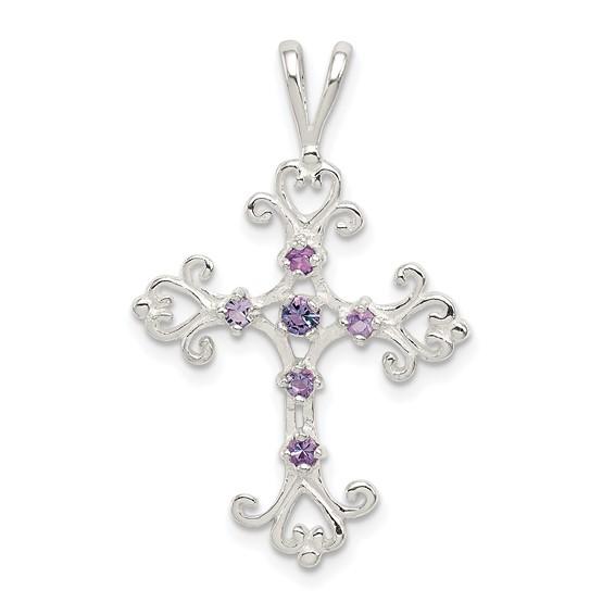Sterling Silver 1in Purple Cubic Zirconia Cross