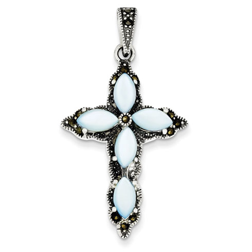 Sterling Silver 1 3/4in Marcasite Blue Mother of Pearl Cross