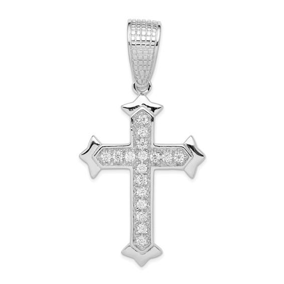 Sterling Silver CZ Cross Pendant 2 1/2in