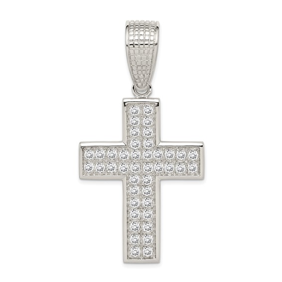 Sterling Silver Cubic Zirconia Cross Pendant 1.5in