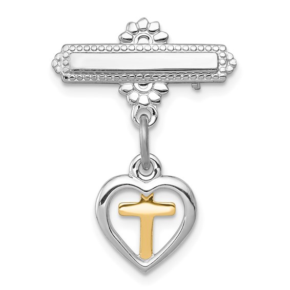 Sterling Silver Dangling Heart with Vermeil Cross Pin