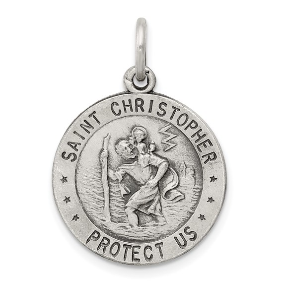 Sterling Silver 3/4in U.S. Air Force St Christopher Charm