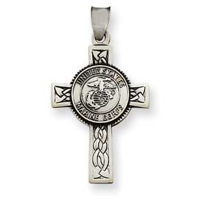 Sterling Silver  1 1/4in USMC Cross Pendant