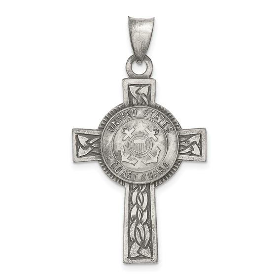 Sterling Silver 1 1/4in U.S. Coast Guard Cross Pendant