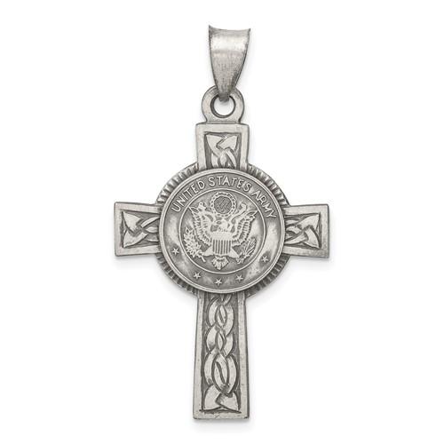 Sterling Silver 1 1/4in U.S. Army Cross Pendant