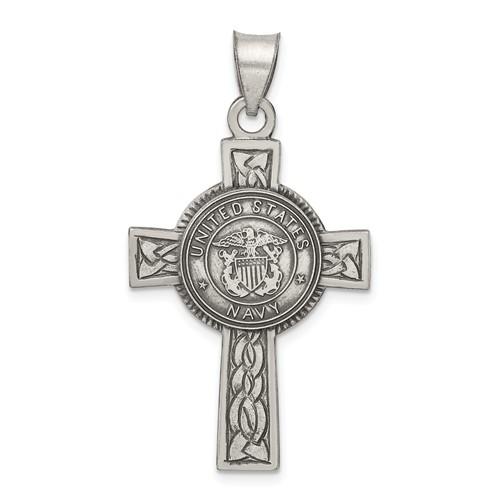 Sterling Silver 1 1/4in U.S. Navy Cross Pendant