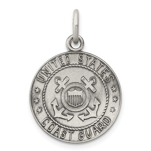 U.S. Coast Guard 5/8in Pendant - Sterling Silver